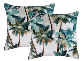 Palm Trees White 60cm Outdoor Cushions 2 Pack