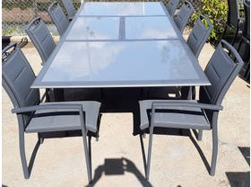 FLOOR MODEL - Barton Extension Table with Verde Chairs 9pc Outdoor Dining Setting