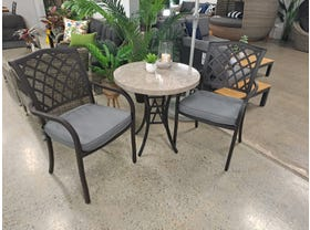 FLOOR MODEL - Luna Stone table with Florentine chair 3pc Outdoor Chat Set