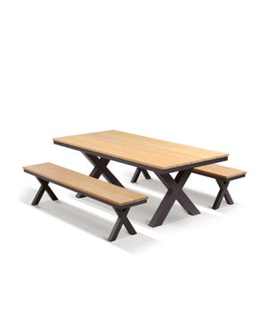 Fox 4 Seater Outdoor Teak Bench Setting