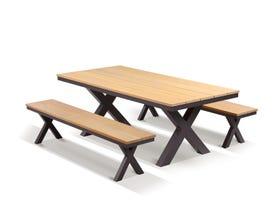 Fox 4 Seater Outdoor Teak Bench Setting
