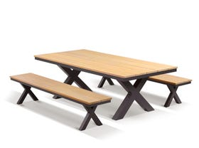 Fox 6 Seater Outdoor Teak Bench Setting
