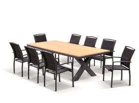 Fox Table with Verde Chairs 9pc Outdoor Dining Setting
