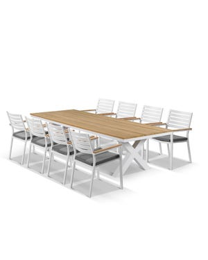 Fox Table with Astra Chairs 9pc Outdoor Dining Setting