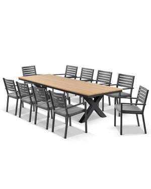 Fox Table with Mayfair Chairs 11pc Outdoor Dining Setting