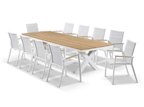 Fox Table with Sevilla Teak Chairs 11pc Outdoor Dining Setting