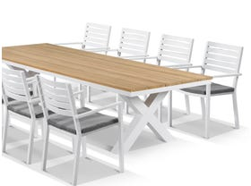 Fox Table with Mayfair Chairs 9pc Outdoor Dining Setting
