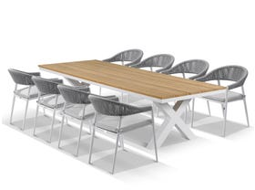 Fox Table with Nivala Chairs 9pc Outdoor Dining Setting