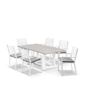 Geo table with Mayfair Chairs 7pc Outdoor Dining Setting