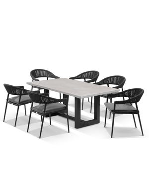 Geo table with Nivala Chairs 7pc Outdoor Dining Setting