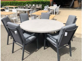 Geo Round with Mikado Chairs 7pc Outdoor Dining Setting