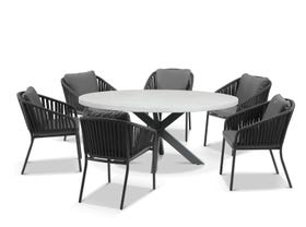 Geo Round Table with Java Chairs 7pc Outdoor Dining Setting