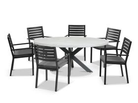 Geo Round Table with Mayfair Chairs 7pc Outdoor Dining Setting