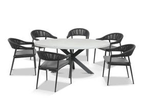 Geo Round table with Nivala Chairs 7pc Outdoor Dining Setting