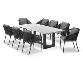 Geo table with Java Chairs 9pc Outdoor Dining Setting