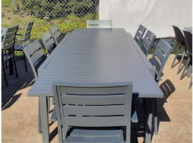 FLOOR MODEL - Hague Extension Table with Twain Chairs 9pc Outdoor Dining Setting
