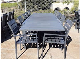 FLOOR MODEL - Hague Extension Table with Twain Chairs 11pc Outdoor Dining Setting