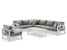 Hampton 7 Seater Aluminium Outdoor Modular Lounge Setting