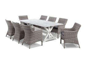 Vogue table with Maldives Chairs  - 9pc Outdoor Dining Setting