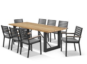 Laguna Table with Astra Chairs 9pc Outdoor Dining Setting
