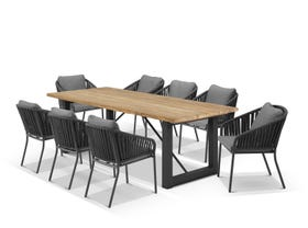Laguna Table with Java Chairs 9pc Outdoor Dining Setting