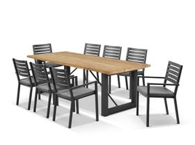 Laguna Table with Mayfair Chairs 9pc Outdoor Dining Setting