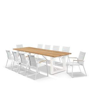 Laguna Table with Sevilla Teak Arm Chairs 11pc Outdoor Dining Setting
