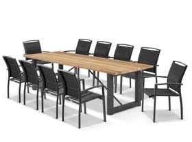 Laguna Table with Verde Chairs 11pc Outdoor Dining Setting