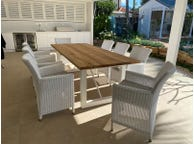 Laguna Table with Chisholm Chairs 9pc Outdoor Dining Setting