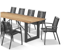 Laguna Table with Sevilla Rope Chairs 11pc Outdoor Dining Setting