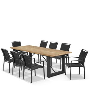 Laguna Table with Verde Chairs 9pc Outdoor Dining Setting