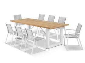 Laguna Table with Sevilla Rope Chairs 9pc Outdoor Dining Setting