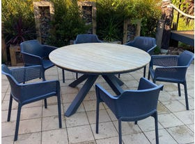 Lancaster Teak Table with Bailey Chairs 7pc- NSW ONLY