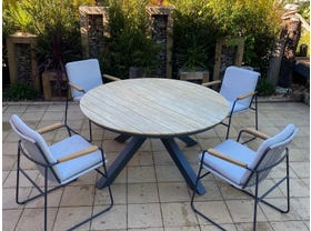 Lancaster Teak Table with Buru Chairs 5pc- NSW ONLY
