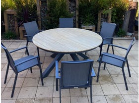 Lancaster Teak Table with Sevilla Chairs 7pc- NSW ONLY