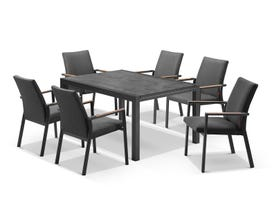 Laredo Extension Table with Lazaro Chairs 7pc Outdoor Dining Setting
