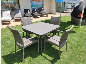 Leros Ceramic Table With Lucerne Dining Chairs -5pc Outdoor Dining Setting