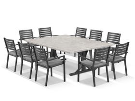 Luna 210cm Table with Mayfair Chairs 11pc Outdoor Dining Setting