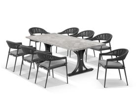 Luna 220cm Table with Nivala Chairs 9pc Outdoor Dining Setting