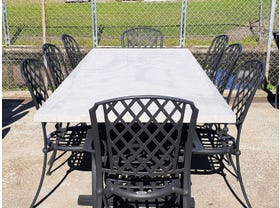 FLOOR MODEL - Luna  Table with Pizzaro Chairs 9pc Outdoor Dining Setting