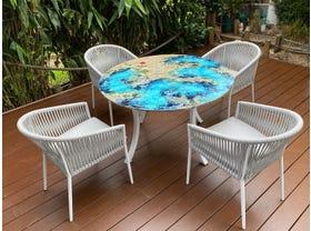 Domiziani Luna Rossa Lava Stone Round Table with Gizella Chairs - 5pc Dining Setting