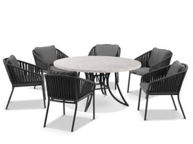 Luna 160cm Round Table with Java Chairs 7pc Outdoor Dining Setting