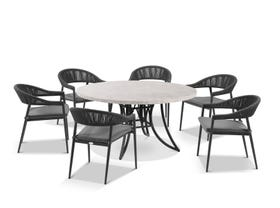 Luna 160cm Round Table with Nivala Chairs 7pc Outdoor Dining Setting