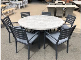 FLOOR MODEL - Luna 140 Round Table with Mayfair Chairs 7pc Outdoor Dining Setting