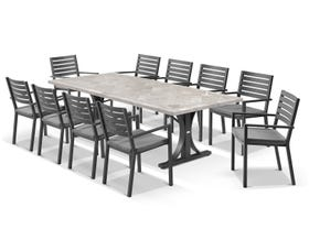Luna 250cm Table with Mayfair Chairs 11pc Outdoor Dining Setting