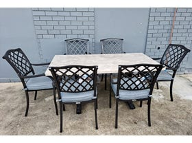 FLOOR MODEL - Luna Dining Table with Florentine Chair - 7pc Outdoor Dining Setting