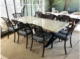 Luna Table With Florentine Chairs -9pc Outdoor Dining Setting