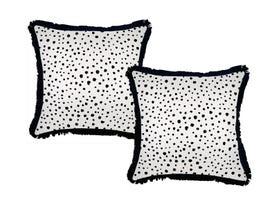 Lunar Black with Fringe 45cm Outdoor Cushion 2 Pack