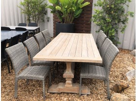 FLOOR MODEL -Malabar Table with Lucerne Chairs 9pc Outdoor Dining Setting