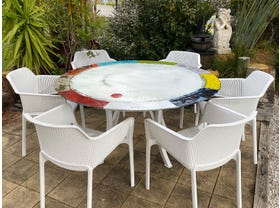 Malafemmena Lava Stone Table with Bailey Chairs- 7pc Dining Setting- SYD Floor Model